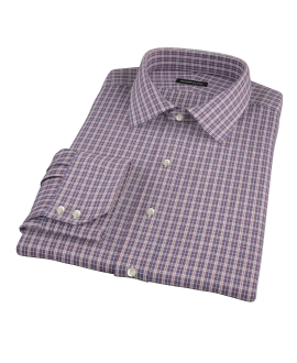 Violet Plaid Oxford Cloth Fitted Dress Shirt