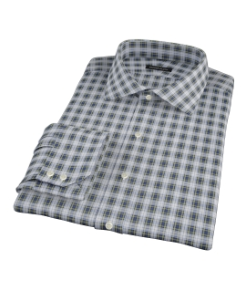 Blue and Green Plaid Fitted Dress Shirt