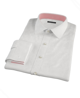 White Wrinkle Resistant Mini Herringbone Fitted Dress Shirt