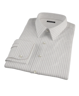 Japanese White and Lavender Fitted Dress Shirt