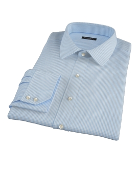Light Blue Mini Gingham Fitted Dress Shirt