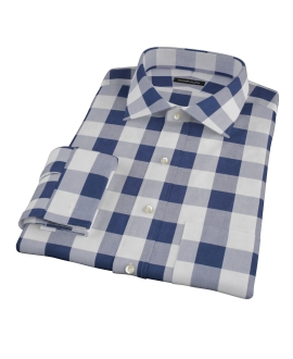 Extra Large Navy Gingham Men's Dress Shirt