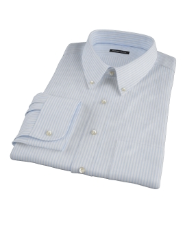140s Wrinkle Resistant Light Blue Stripe Custom Dress Shirt