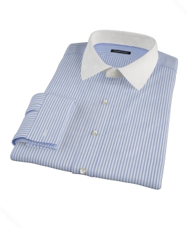 140s Wrinkle Resistant Dark Blue Stripe Dress Shirt