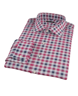 Vincent Red and Navy Plaid Fitted Shirt