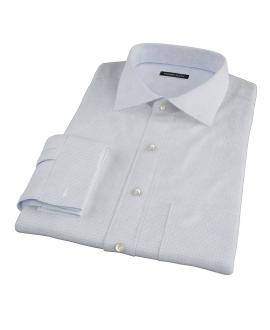 Albini Blue Mini Tattersall Fitted Dress Shirt