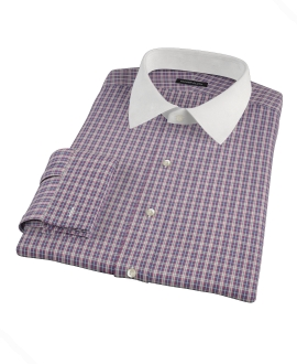 Violet Plaid Oxford Cloth Men's Dress Shirt
