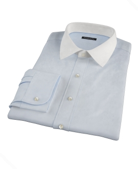 Bowery Light Blue Wrinkle-Resistant Pinpoint Custom Dress Shirt