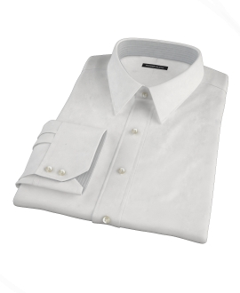 White Wrinkle Resistant Mini Herringbone Tailor Made Shirt