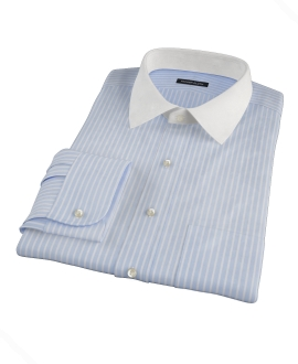 Canclini Light Blue Reverse Bengal Stripe Dress Shirt