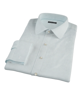 Chalk Blue End-on-End Stripe Fitted Dress Shirt