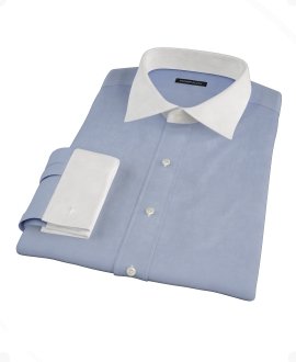 Canclini Blue Fine Twill Fitted Dress Shirt