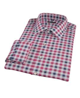 Vincent Red and Navy Plaid Men's Dress Shirt