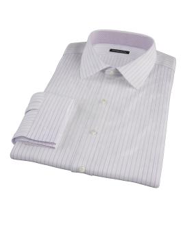 Albini Lavender Satin Stripe Fitted Dress Shirt