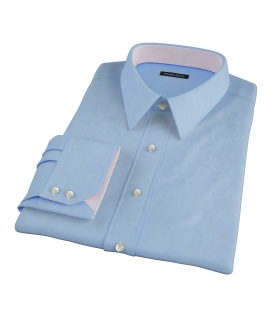 100s Medium Blue Wrinkle Resistant Broadcloth Tailor Made Shirt