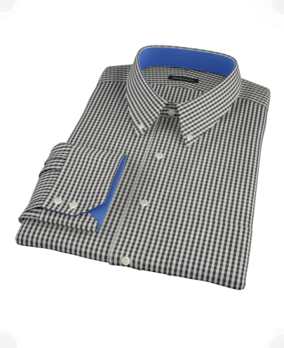 Small Black Gingham Custom Dress Shirt 