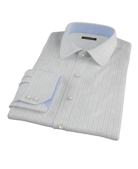 Light Blue Gray Dobby Stripe Men's Dress Shirt