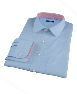 100s Medium Blue Wrinkle Resistant Broadcloth Fitted Dress Shirt