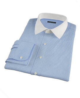 Thomas Mason Blue Stripe Custom Dress Shirt