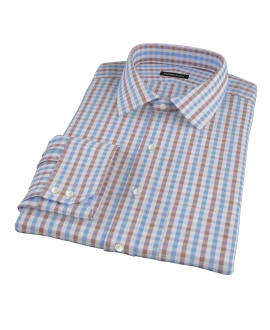 Thomas Mason Blue & Brown Gingham Dress Shirt