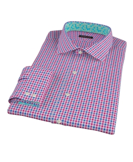 Red and Blue Small Gingham Men's Dress Shirt
