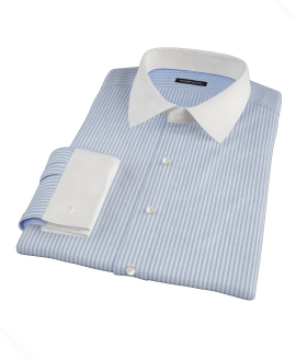 140s Wrinkle Resistant Blue Stripe Fitted Dress Shirt