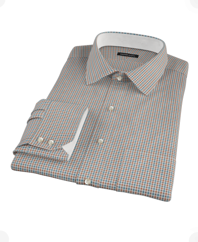 Hazelnut Teal Gingham Twill Custom Dress Shirt