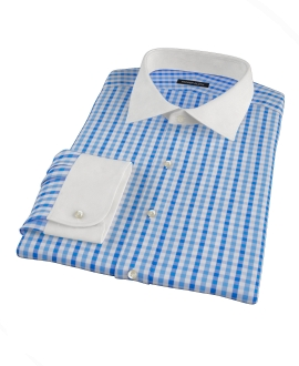 Thomas Mason Blue Multi Gingham Dress Shirt