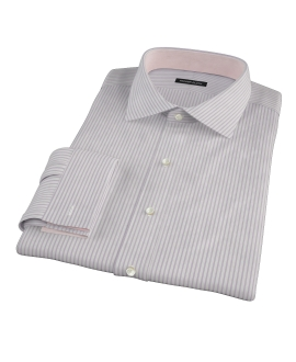 Albini Pink Bordered Stripe Fitted Dress Shirt