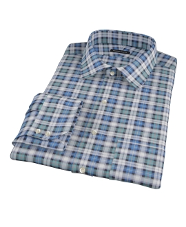 Vincent Green and Blue Plaid Men's Dress Shirt