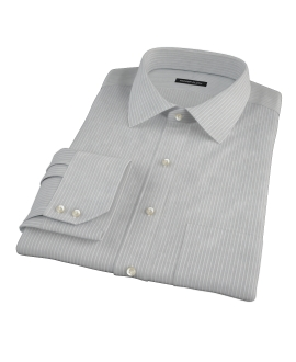 Charcoal End-on-End Stripe Fitted Shirt