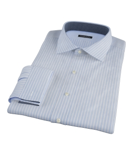 Canclini Light Blue Reverse Bengal Stripe Fitted Dress Shirt