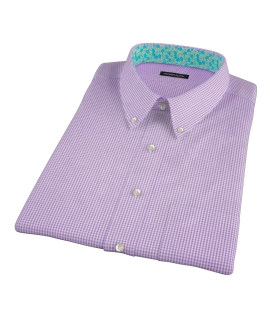 Canclini Lavender Mini Gingham Short Sleeve Shirt