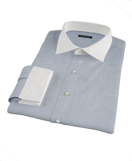 Bowery Navy Wrinkle-Resistant Pinpoint Custom Dress Shirt