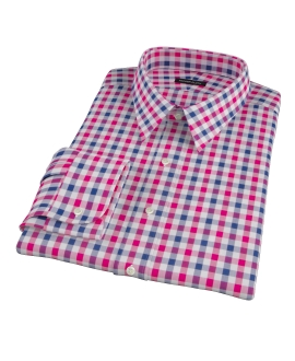 Red and Navy Multi Gingham Men's Dress Shirt