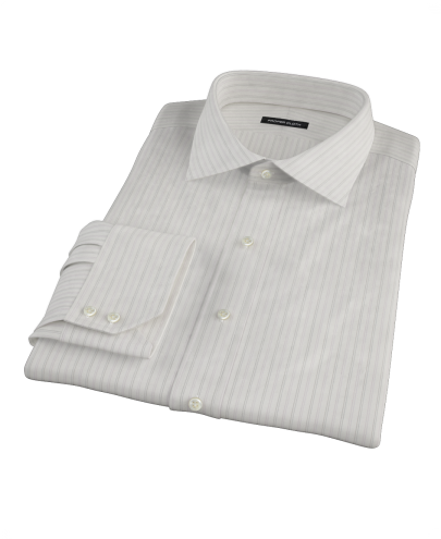 Lavender Gray Dobby Stripe Custom Dress Shirt