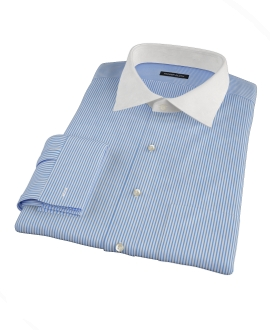 Thomas Mason Luxury Blue Stripe Fitted Dress Shirt