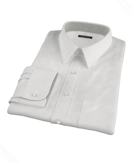 White Wrinkle Resistant Rich Herringbone Men's Dress Shirt