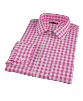 Pink Large Gingham Custom Dress Shirt
