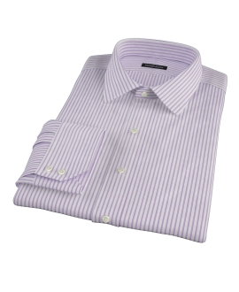 Greenwich Lavender Bordered Stripe Fitted Dress Shirt