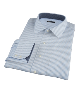 Canclini Light Blue Medium Check Fitted Dress Shirt