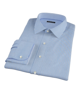 Thomas Mason 120s Blue Stripe Fitted Dress Shirt