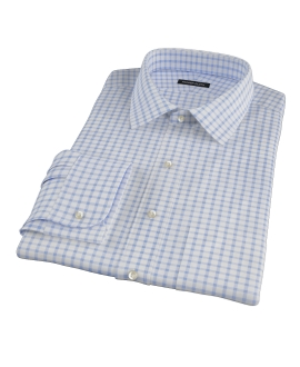Thomas Mason Dark Blue Grid Custom Made Shirt