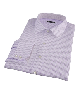 Canclini Purple Check Fitted Dress Shirt