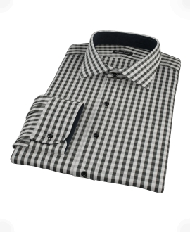 Black Classic Gingham Fitted Dress Shirt
