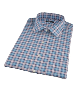 Vincent Blue Red and White Plaid Short Sleeve Shirt