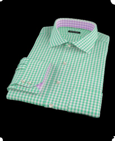 Light Green Gingham Custom Dress Shirt