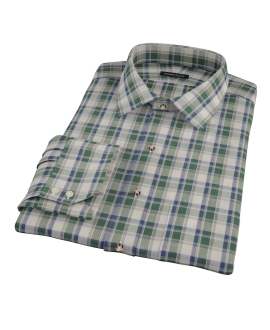 Green Brushed Twill Plaid Fitted Shirt