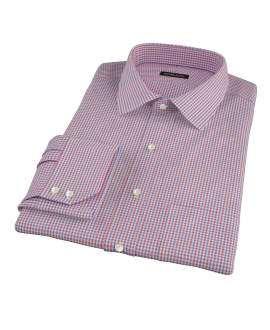 Canclini Red and Blue Mini Gingham Dress Shirt
