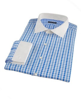 Thomas Mason Light Blue Gingham Custom Dress Shirt